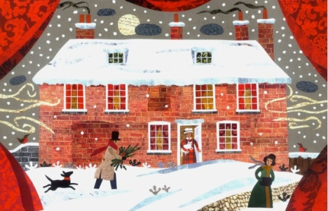 """A Jane Austen Christmas"" by Amanda White (Chawton Cottage, Hampshire, JA's home, 1809-1817) cut paper collage"